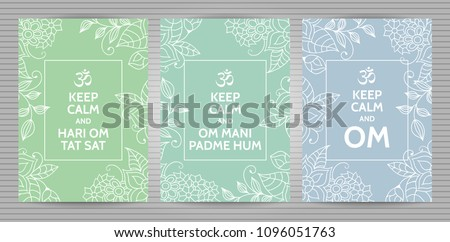 Meditation and spiritual practice Hindu and Buddhist mantras motivational typography posters on soft blue, green and turquoise background with floral pattern. Set of yoga studio postcards.