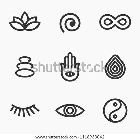 Meditation and yoga icon set inspired by Middle East countries. Icons representing peace, tranquility, spa, meditation, yoga, religion.