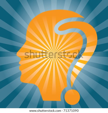 Meditation concept with human head silhouette and question mark