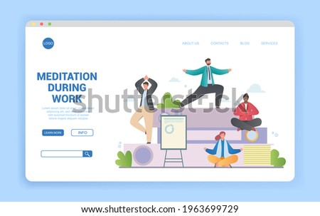 Meditation during work concept with group of diverse multiracial people meditating in different poses in office. Flat cartoon vector illustration. Website, web page, landing page template Stock photo ©