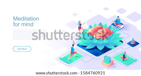 Meditation for mind landing page vector template. Calming techniques, stress relief website header UI layout with isometric illustration. Yoga workout, self-care web banner isometry concept