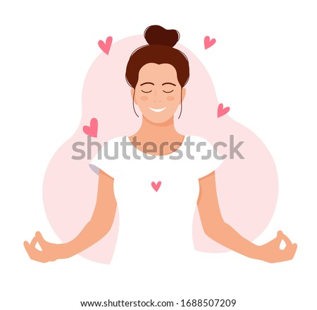 MEDITATION. GIRL MEDITATES. RELAX. Love yourself. Mental health concept. Healthcare. Inner harmony with yourself. Take time for your self. Vector illustration. Woman meditating on white background  ストックフォト ©