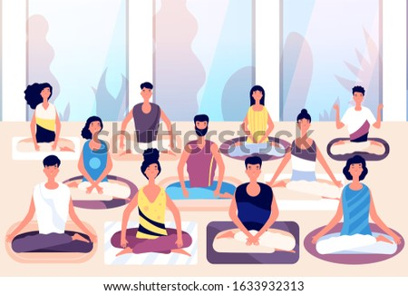 Meditation group. People sit in lotus posture and meditate against panoramic window. Business meditation, team building vector concept Stok fotoğraf ©
