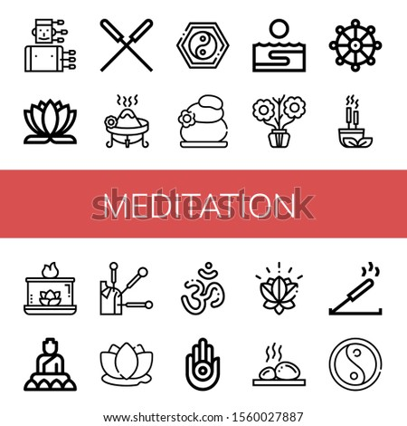 meditation icon set. Collection of Acupuncture, Lotus flower, Incense, Yin yang, Lithotherapy, Thalassotherapy, Aromatic, Buddhism, Aromatic candle, Buddha, Lotus, Om, Jainism icons