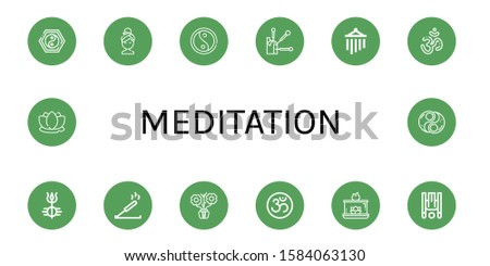 meditation icon set. Collection of Yin yang, Relax, Acupuncture, Wind chimes, Om, Shiva, Incense, Aromatic, Aromatic candle, Inversion therapy, Lotus icons