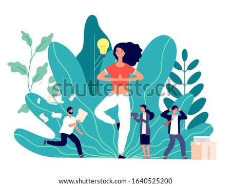 Meditation. Office work balance, creative woman works and thinks. Exercises for searching ideas, emotional business team vector concept Photo stock ©