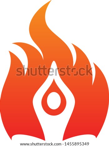 Meditation people fire life vector icon on the white background. Fire icon for your best business symbol. Vector illustration EPS.8 EPS.10
