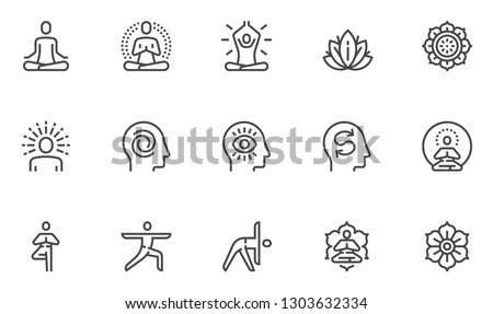 Meditation Practice and Yoga Vector Line Icons Set. Relaxation, Inner Peace, Self-knowledge, Inner Concentration, Spiritual Practice. Editable Stroke. 48x48 Pixel Perfect.