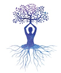 meditation with tree vector , meditation watercolor vector ,meditation ,