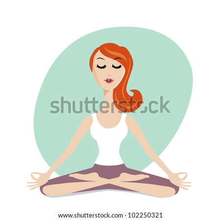 Meditation woman. Vector meditation silhouette. Meditation woman character icon. Beautiful young character cartoon young  woman  practicing yoga and meditating