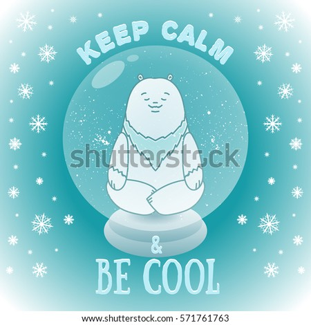 Meditative Animals series. Beaver seated, inside the snowglobe, in the lotus position. Good for design of postcards, posters, printed materials, especially for those who are engaged in yoga.