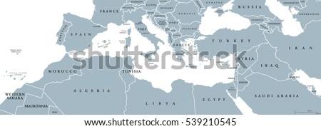 Mediterranean Basin political map. Mediterranean region, also Mediterranea. Lands around Mediterranean Sea. South Europe, North Africa and Near East. Gray illustration with English labeling. Vector. ストックフォト ©
