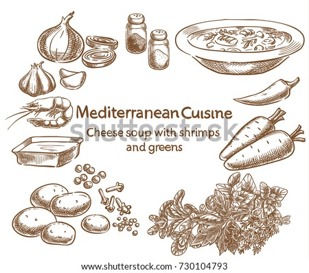 Mediterranean cuisine.Cheese soup with shrimps and greens. Vector sketch.