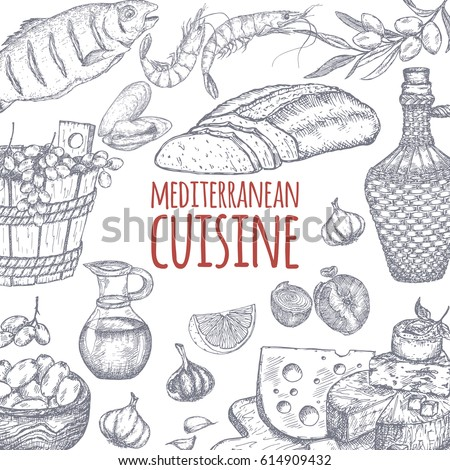 Mediterranean cuisine template. Includes hand drawn sketch of bread, wine, cheese, olives, seafood and spices. Great for restaurants, cafes, recipe and travel books.