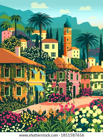 Mediterranean romantic landscape. Handmade drawing vector illustration. Retro poster. Can be used for posters, banners, postcards, books & etc.