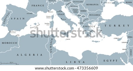 Mediterranean Sea Region countries political map with national borders. South Europe, North Africa and Near East with national borders. English labeling and scaling. Illustration.