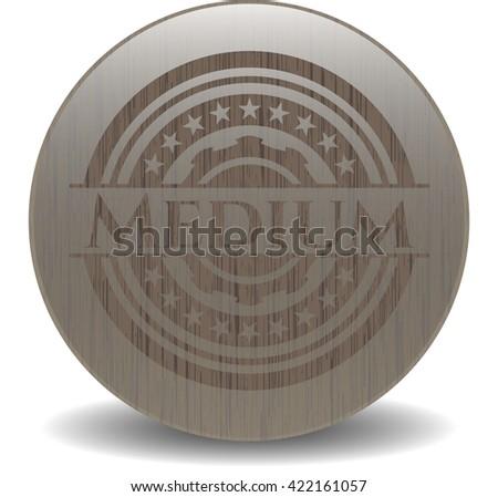 Medium badge with wood background