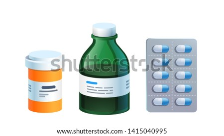 Meds, pill blister, glass bottle with liquid medicine & plastic tube with cap. Drug medication & supplements. Realistic flat style vector object illustration
