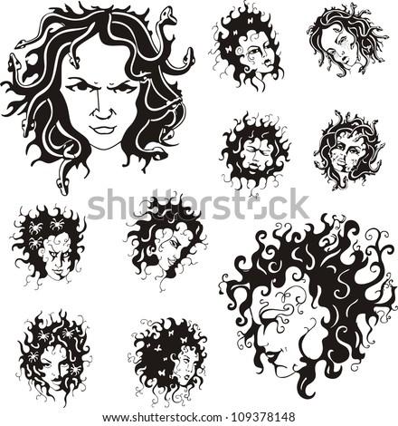 medusa faces set of black and
