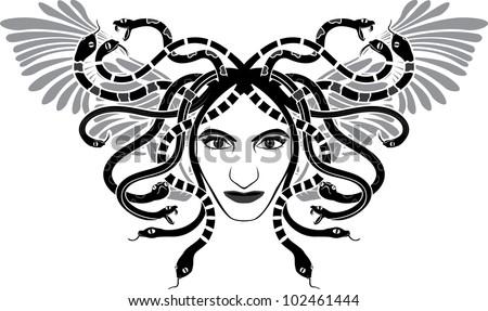 medusa gorgon head with wings