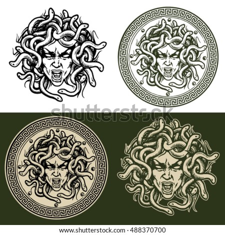 medusa head vector set