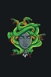 Medusa head with snakes greek myth creature pop art retro vector illustration
