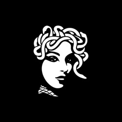 medusa illustration black backgorund vector