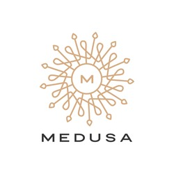 medusa mandala logo vector icon illustration