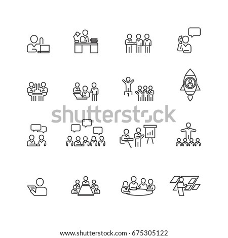 Meeting and people icons set,Vector