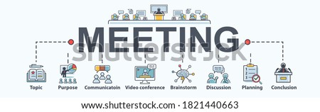 Meeting banner web icon for appointment and convoke, Topic, purpose, brainstorm, communication, discussion, video conference and conclusion. Minimal flat cartoon vector infographic. Foto stock ©