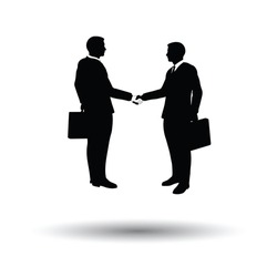 Meeting businessmen icon. White background with shadow design. Vector illustration.