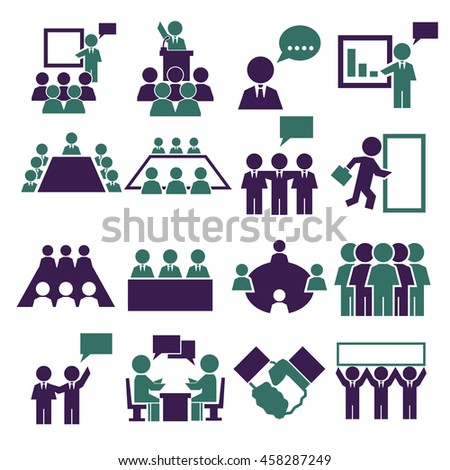 meeting, conference, consult icon set