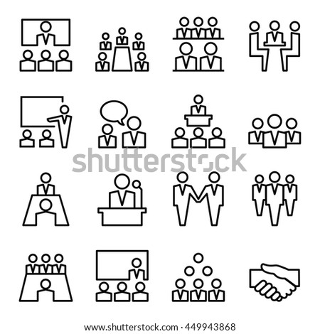 Meeting & Conference icon  in thin line style #449943868