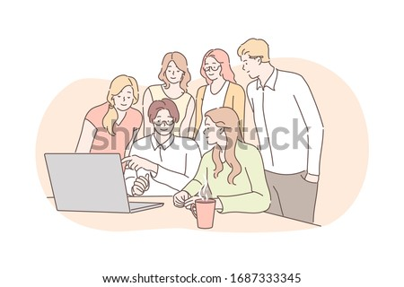 Meeting, coworking, teamwork, analysis, leadership business concept. Team of business people businessmen women partners collaborate together. Office meeting. Coworking statistic planning, training. Photo stock ©