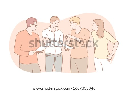 Meeting, coworking, teamwork, discussion, business concept. Team of business people businesswoman men partners collaborate together. Office meeting. Coworkingsis, discussion or planning strategy. Photo stock ©