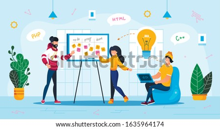 Meeting for Idea Brainstorm, Project Planning Trendy Flat Vector Concept. Company Employees, Web Developers Team, Female, Male Programmers Planning App Development, Discussing Solutions Illustration