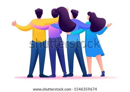 Meeting friends, friends are standing in an embrace, joy, friendship. Flat 2D character. Concept for web design.