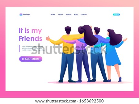 Meeting friends, friends are standing in an embrace, joy, friendship. Flat 2D character. Landing page concepts and web design