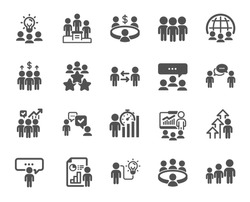 Meeting icons. Conference, seminar, classroom. Team, work and business idea icons. Discussion, classroom job, people management. Presentation, office meeting, consultation. Vector