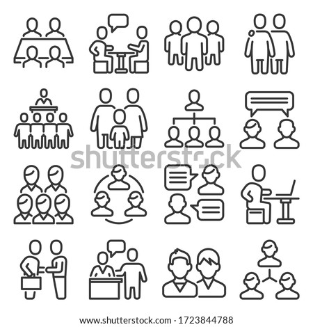 Meeting Icons Set on White Background. Line Style Vector
