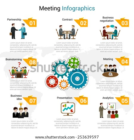 Meeting infographics set with partnership contract business negotiation brainstorming symbols vector illustration