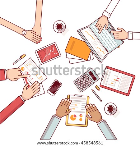 Meeting of business man group discussing statistical data over the desk. Talking about sales and financial graphs and charts. Clipboard, laptop and tablet. Flat style thin line vector illustration.