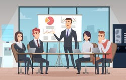 Meeting office interior. Business conference room with people managers working team vector cartoon interior