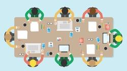 Meeting, office, teamwork, brianstorming, vector illustration. Flat style.