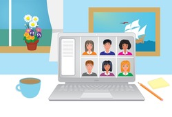 Meeting online, working from home. Vector illustration.