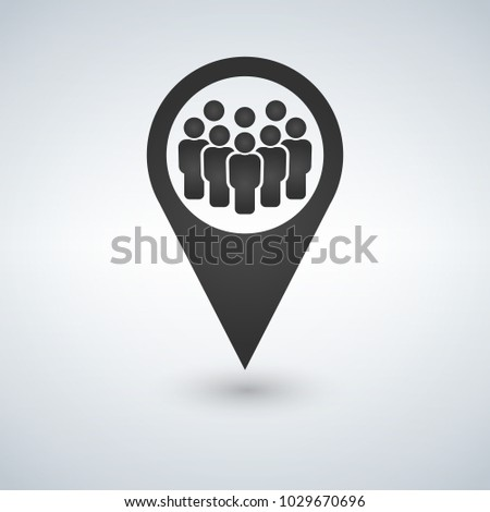 Meeting point location icon. Friends nearby. Drop shadow gps mark silhouette symbol. Group of people inside pinpoint. Vector isolated illustration.
