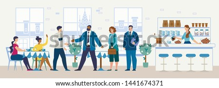 Meeting Potential Investor, Lawyer in Cafe, Lunch with Business Partner in Restaurant Flat Vector Concept. Young Man with Friends Handshaking, Welcoming Businessman, Greeting Colleague Illustration