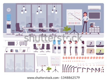 Meeting room in the business center office and female manager creation kit, conference hall set with furniture, constructor elements to build own design. Cartoon flat style infographic illustration