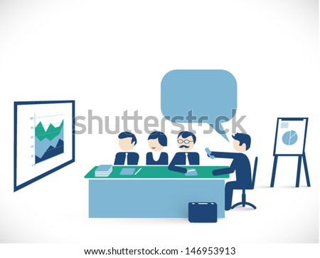 meeting room scene - man showing business presentation to others / team / conference / partnership concept