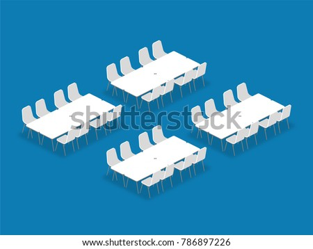 Meeting room setup layout configuration Banquet isometric style illustration, perspective 3d with shadow on blue color background